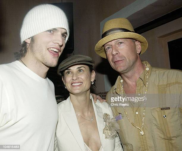 Ashton Kutcher Demi Moore and Bruce Willis during The Spider Club at the Avalon Hollywood Hosts Bruce Willis' 49th Birthday Party at The Spider Room...