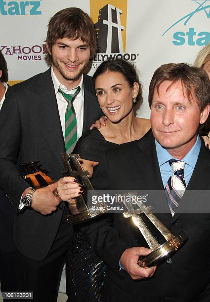 Ashton Kutcher Demi Moore and Emilio Estevez during Hollywood Film Festival 10th Annual Hollywood Awards Press Room at The Beverly Hilton Hotel in...