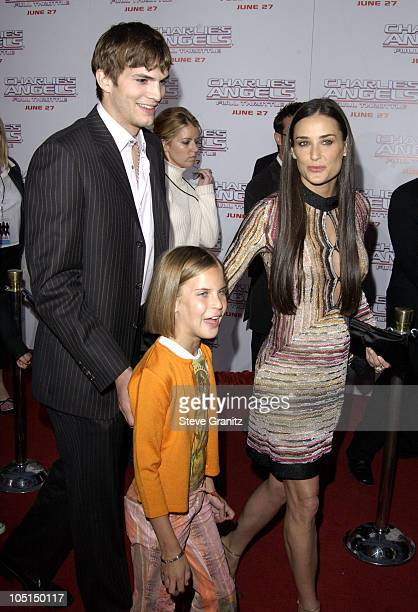 Ashton Kutcher Demi Moore during 'Charlie's Angels 2 Full Throttle' Premiere at Mann's Chinese Theater in Hollywood California United States