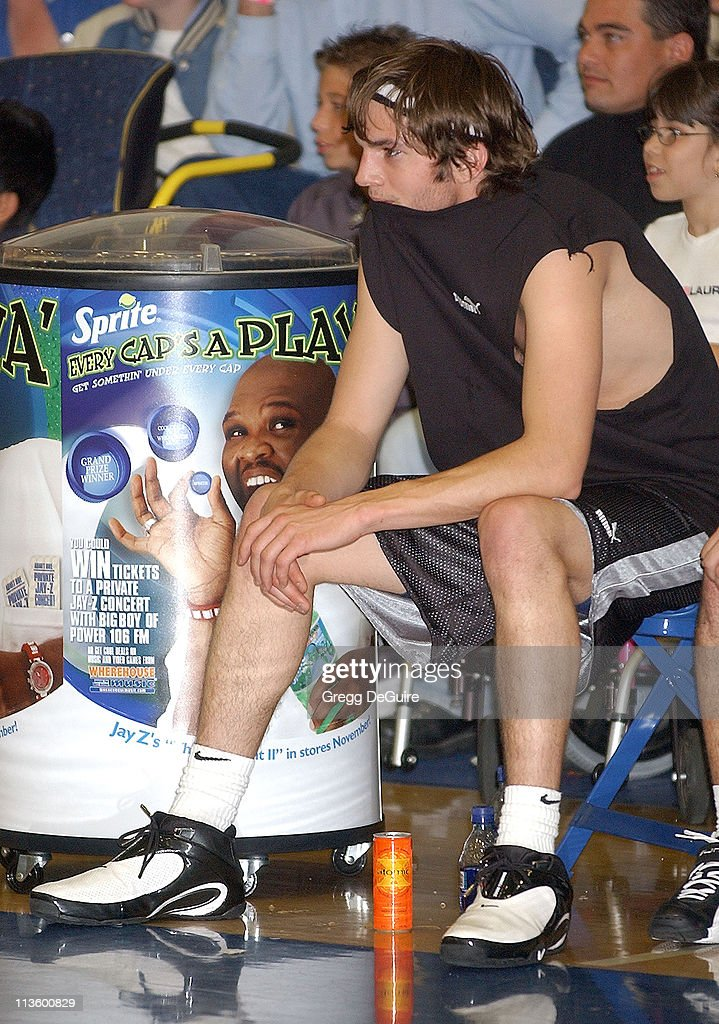 Ashton Kutcher during Frankie Muniz Hosts 'HoopLA' a Celebrity Basketball Game Which Benefits The Starlight Children's Foundation at Crossroads...