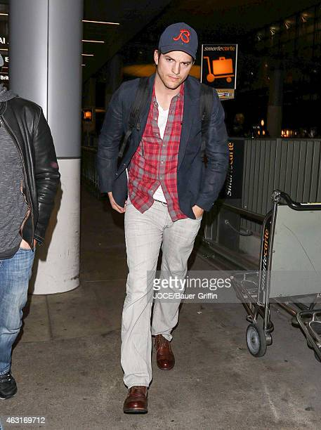Ashton Kutcher is seen at LAX on February 10 2015 in Los Angeles California