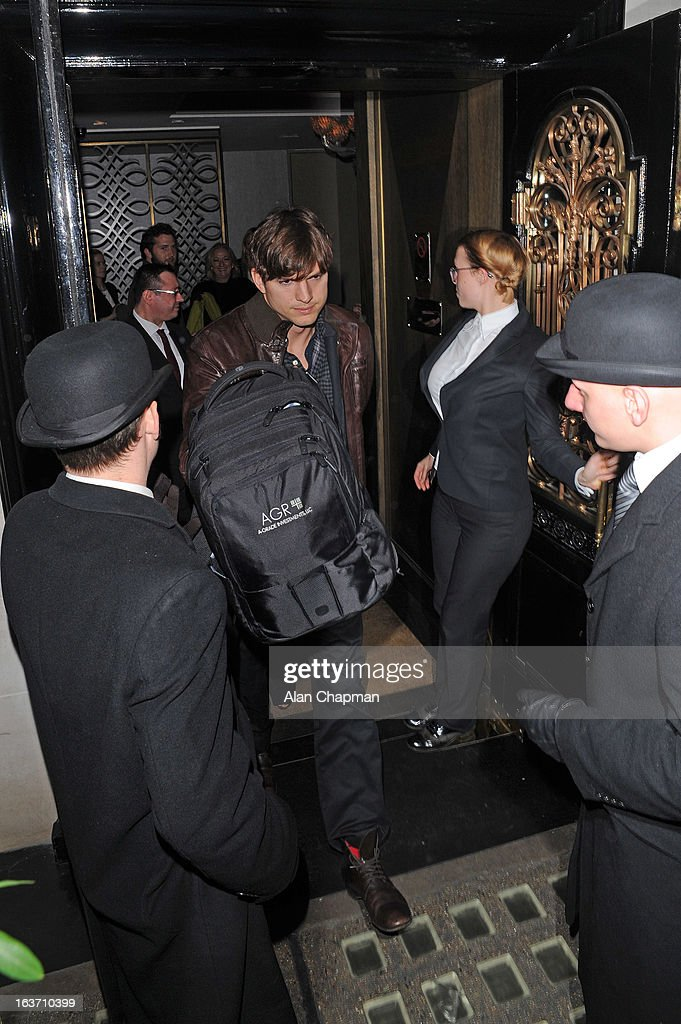 Ashton Kutcher sighting at Scotts restaurnat on March 14, 2013 in London, England.