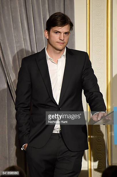 Ashton Kutcher speaks at the Museum of the Moving Image honoring Netflix Chief Content Officer Ted Sarandos and Seth Meyers at St Regis Hotel on June...