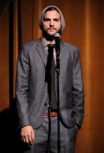 Ashton Kutcher speaks onstage at GQ's Gentlemen's Ball Presented By Gentleman Jack Land Rover Movado and Nautica at The Edison Ballroom on October 26...