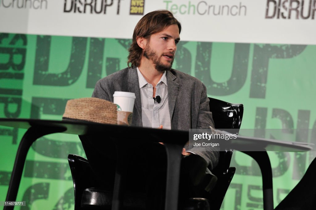 Ashton Kutcher speask to Charlie Rose (not pictured) during the TechCrunch Disrupt New York May 2011 at Pier 94 on May 24, 2011 in New York City.