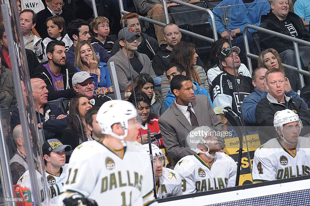 Ashton Kutcher watches the game between the Los Angeles Kings and the Dallas Stars at Staples Center on March 21, 2013 in Los Angeles, California.