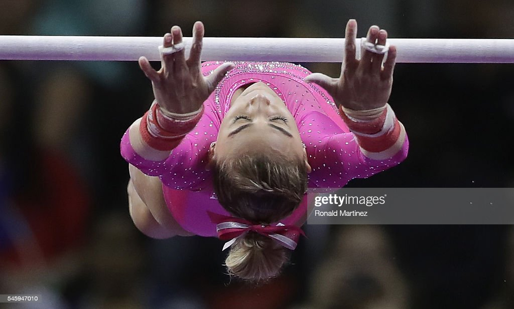 Ashton Locklear competes on the uneven bars during day 1 of the 2016 U.S. Olympic Women's Gymnastics Team Trials at SAP Center on July 8, 2016 in San Jose, California.