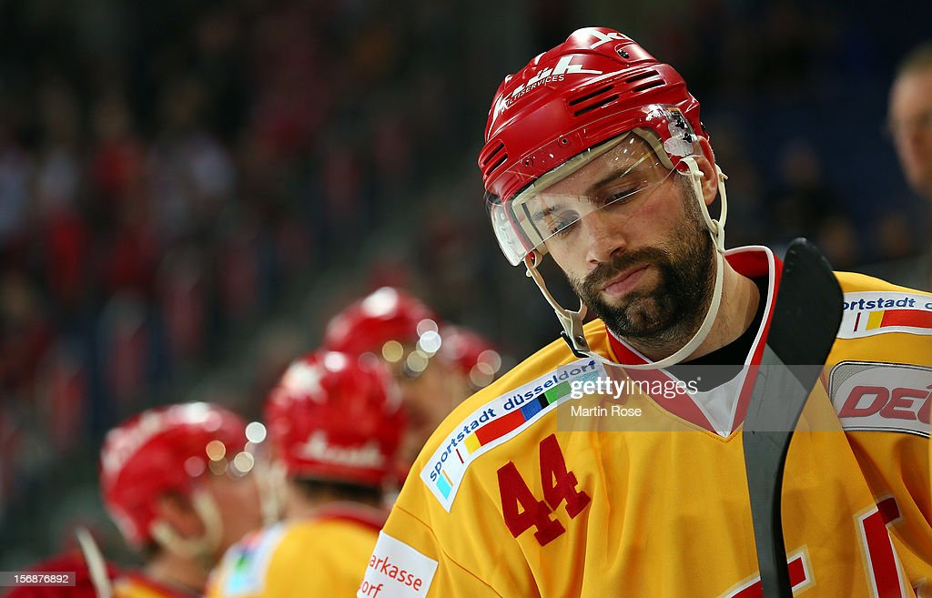 Ashton Rome of Duesseldorf looks dejected during the DEL match between Hannover Scorpions and Duesseldorfer EG at TUI Arena on November 23, 2012 in Hanover, Germany.