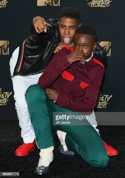 Ashton Sanders and Jharrel Jerome pose in the press room at the 2017 MTV Movie and TV Awards at The Shrine Auditorium on May 7 2017 in Los Angeles...