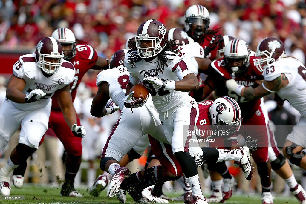 Ashton Shumpert #32 of the Mississippi State Bulldogs during their game at Williams-Brice Stadium on November 2, 2013 in Columbia, South Carolina.