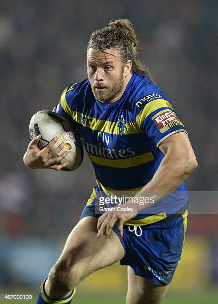 Ashton Sims of Warrington Wolves in action during the First Utility Super League match between St Helens and Warrington Wolves at Langtree Park on...