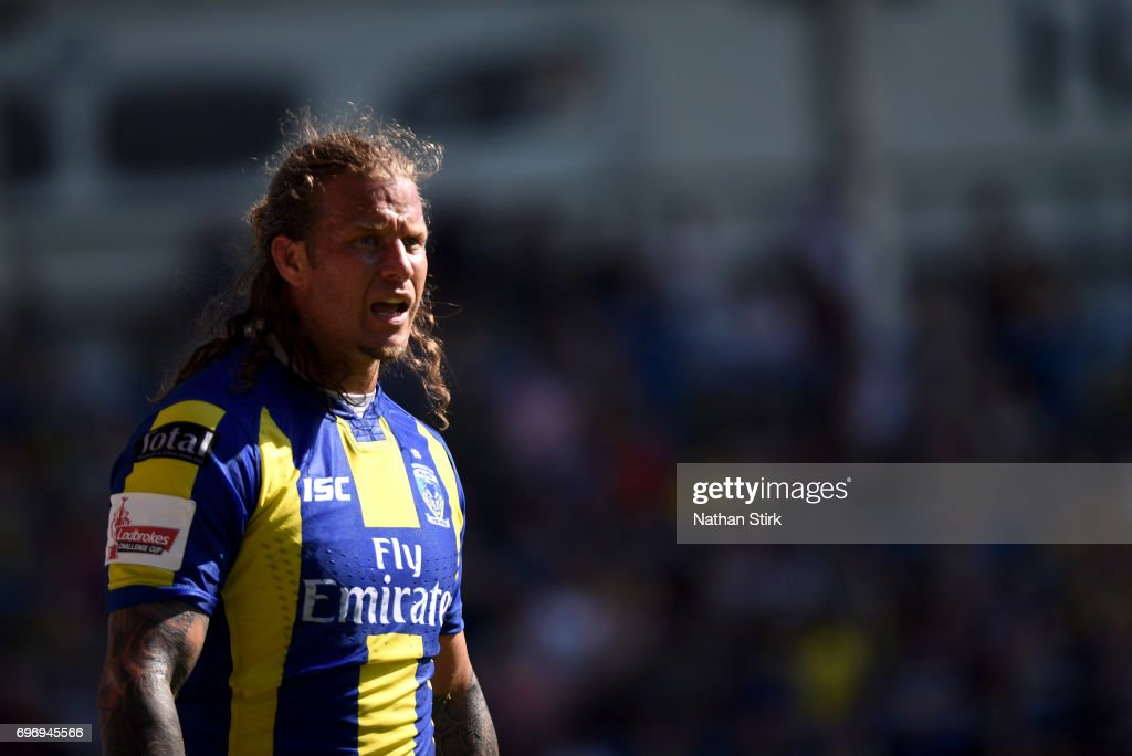 Ashton Sims of Warrington Wolves looks on during the Ladbrokes Challenge Cup Quarter-Final match between Warrington Wolves and Wigan Warriors at Halliwell Jones Stadium on June 17, 2017 in Warrington, England.
