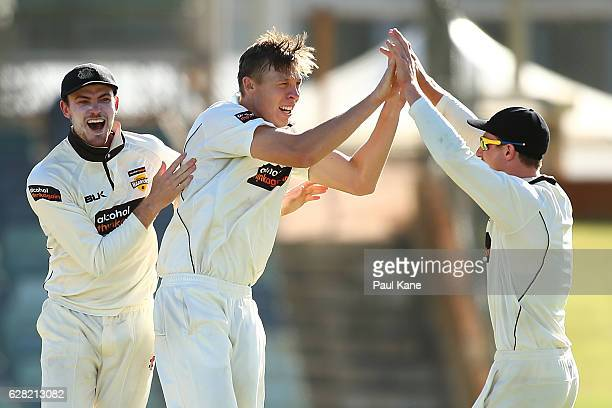Ashton Turner and Cameron Bancroft of Western Australia congratulate Simon Mackin after dismissing Michael Neser of Queensland during day three of...