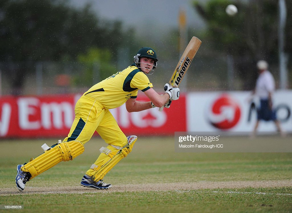 Ashton Turner bats during the ICC U19 Cricket World Cup 2012 Quarter Final match between Australia and Bangladesh at Endeavour Park on August 19, 2012 in Townsville, Australia.