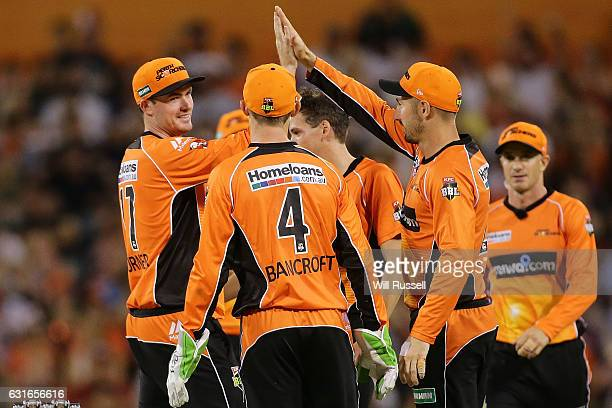 Ashton Turner of the Scorchers celebrates after taking a catch to dismiss Peter Handscomb of the Stars off the bowling of Jhye Richardson of the...