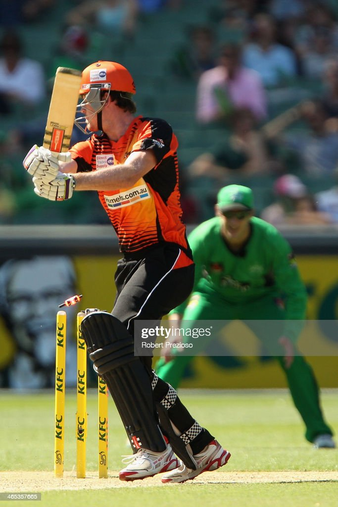 Ashton Turner of the Scorchers is bowled by John Hastings of the Stars during the Big Bash League match between the Melbourne Stars and the Perth Scorchers at Melbourne Cricket Ground on January 27, 2014 in Melbourne, Australia.