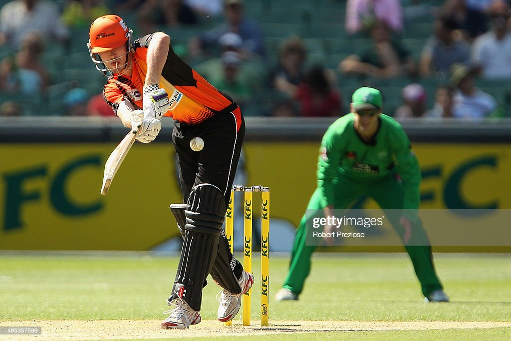 Ashton Turner of the Scorchers plays a shot during the Big Bash League match between the Melbourne Stars and the Perth Scorchers at Melbourne Cricket Ground on January 27, 2014 in Melbourne, Australia.