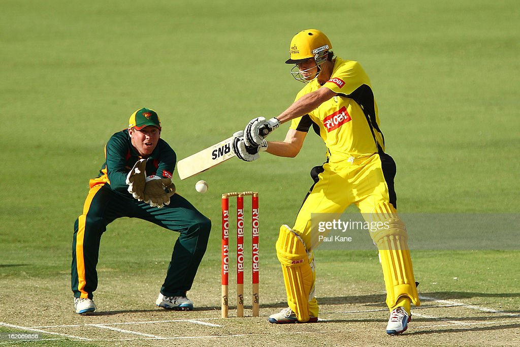 Ashton Turner of the Warriors bats during the Ryobi One Day Cup match between the Western Australia Warriors and the Tasmanian Tigers at the WACA on February 19, 2013 in Perth, Australia.