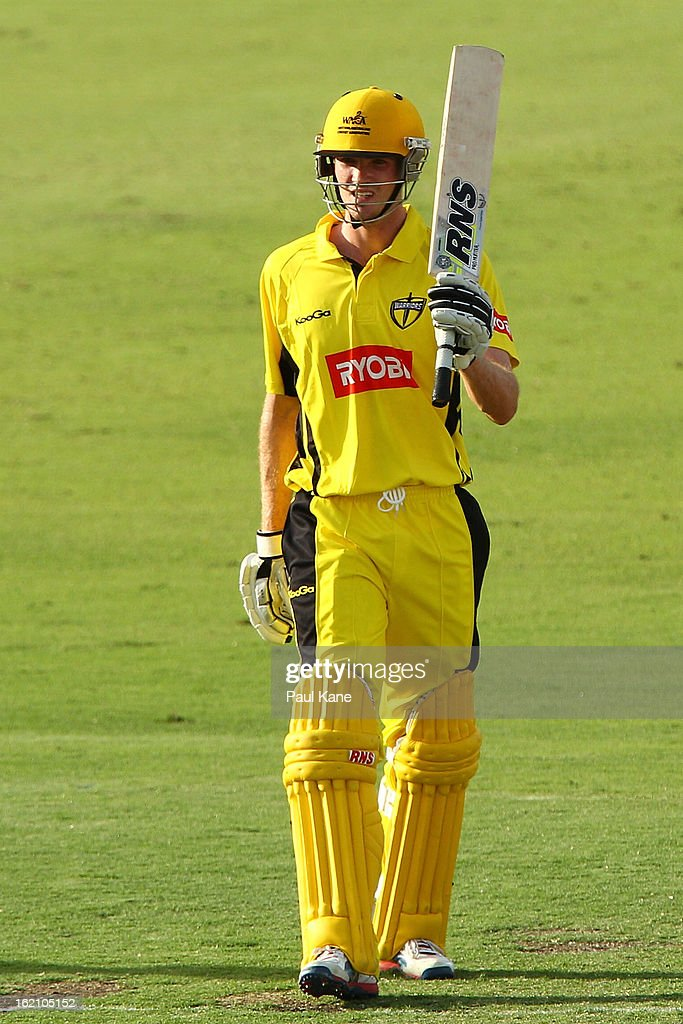 Ashton Turner of the Warriors celebrates his half century during the Ryobi One Day Cup match between the Western Australia Warriors and the Tasmanian Tigers at the WACA on February 19, 2013 in Perth, Australia.