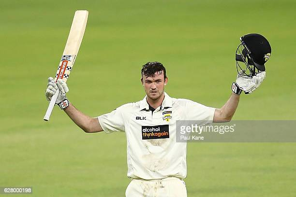 Ashton Turner of Western Australia celebrates after scoring his century during day two of the Sheffield Shield match between Western Australia and...