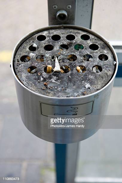 Ashtray in outdoor smoking area