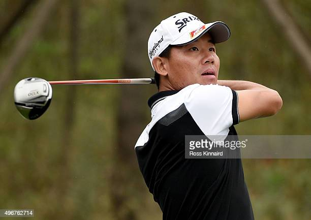 Ashun Wu of Chica on the par five 13th hole during the first round of the BMW Masters at Lake Malaren Golf Club on November 12 2015 in Shanghai China