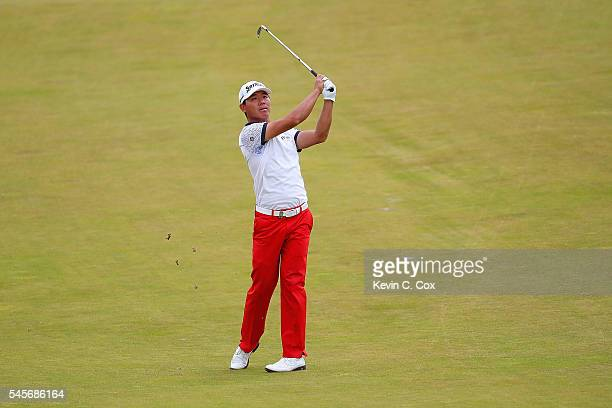 Ashun Wu of China hits his 2nd shot on the 5th hole during the third round of the AAM Scottish Open at Castle Stuart Golf Links on July 9 2016 in...
