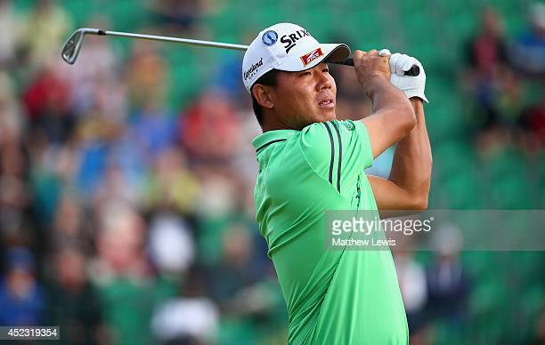 Ashun Wu of China hits his tee shot on the fourth hole during the second round of The 143rd Open Championship at Royal Liverpool on July 18 2014 in...