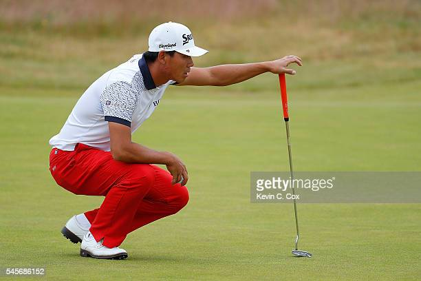Ashun Wu of China lines up on the 5th hole during the third round of the AAM Scottish Open at Castle Stuart Golf Links on July 9 2016 in Inverness...