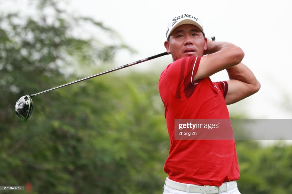 A-shun Wu of China plays a shot during the second round of the Shenzhen International at Genzon Golf Club on April 21, 2017 in Shenzhen, China.