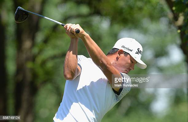 Ashun Wu of China plays his drive on the ninth tee during the first round on day one of the Lyoness Open at Diamond Country Club on June 8 2016 in...
