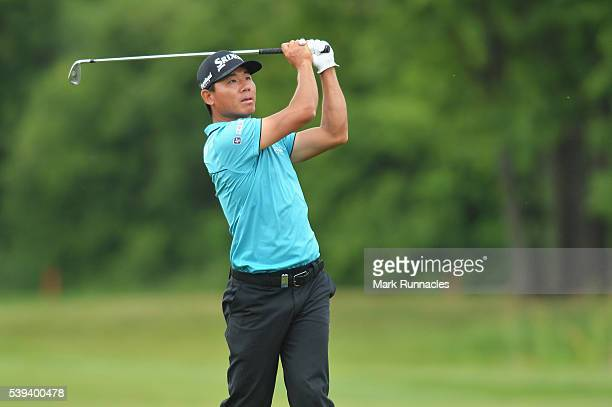 Ashun Wu of China plays his second shot on the 16th during the third round of the Lyoness Open at Diamond Country Club on June 11 2016 in Atzenbrugg...