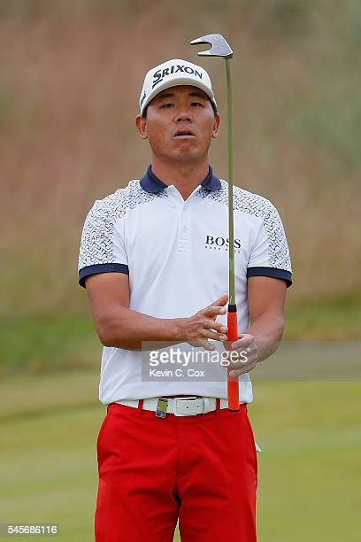 Ashun Wu of China reacts on the 5th hole during the third round of the AAM Scottish Open at Castle Stuart Golf Links on July 9 2016 in Inverness...