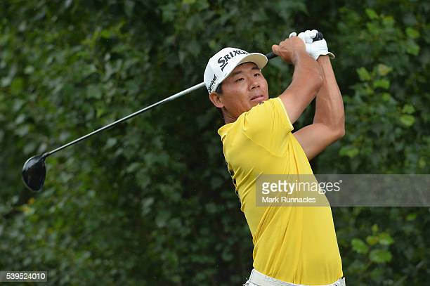 Ashun Wu of China tees off from the 4th during the final round of the Lyoness Open at Diamond Country Club on June 12 2016 in Atzenbrugg Austria