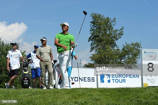Ashun Wu of China tees off on hole 8 during the second round of The Lyoness Open at Diamond Country Club on June 10 2016 in Atzenbrugg Austria