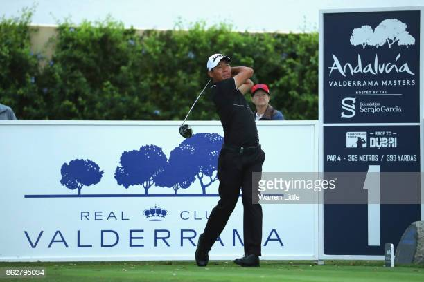 Ashun Wu of Spain in action during the pro am ahead of the Andalucia Valderrama Masters at Real Club Valderrama on October 18 2017 in Cadiz Spain