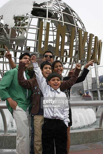 Ashutosh Lobo Gajiwala Madhur Mittal Tanay Hemant Chheda Tanvi Ganesh Lonkar and Ayush Mahesh Khedekar of 'Slumdog Millionaire' visit Universal...