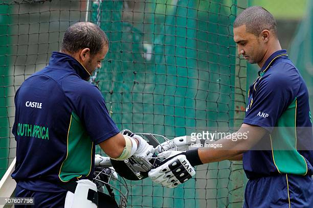 Ashwell Prince and Alviro Peterson during the South African national cricket team training session at Supersport Park Centurion on December 15 2010...