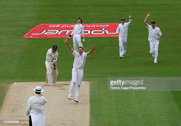 Ashwell Prince caught by Tim Ambrose off Darren Pattinson for 149 England v South Africa 2nd Test Headingley Jul 08