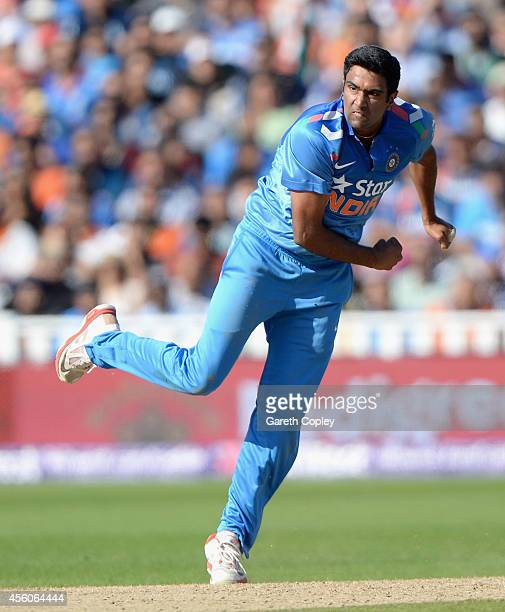 Ashwin of India bowls during the NatWest International T20 between England and India at Edgbaston on September 7 2014 in Birmingham England