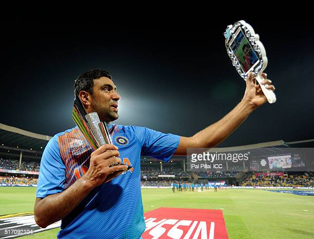 Ashwin of India takes a selfie along with his man of the match trophy during the ICC World Twenty20 India 2016 match between India and Bangladesh at...