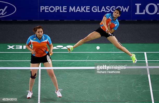 Ashwini Ponnappa and Jwala Gutta of India in action during their women's doubles match against Shinta Mulia Sari and Lei Yao of Singapore in the...