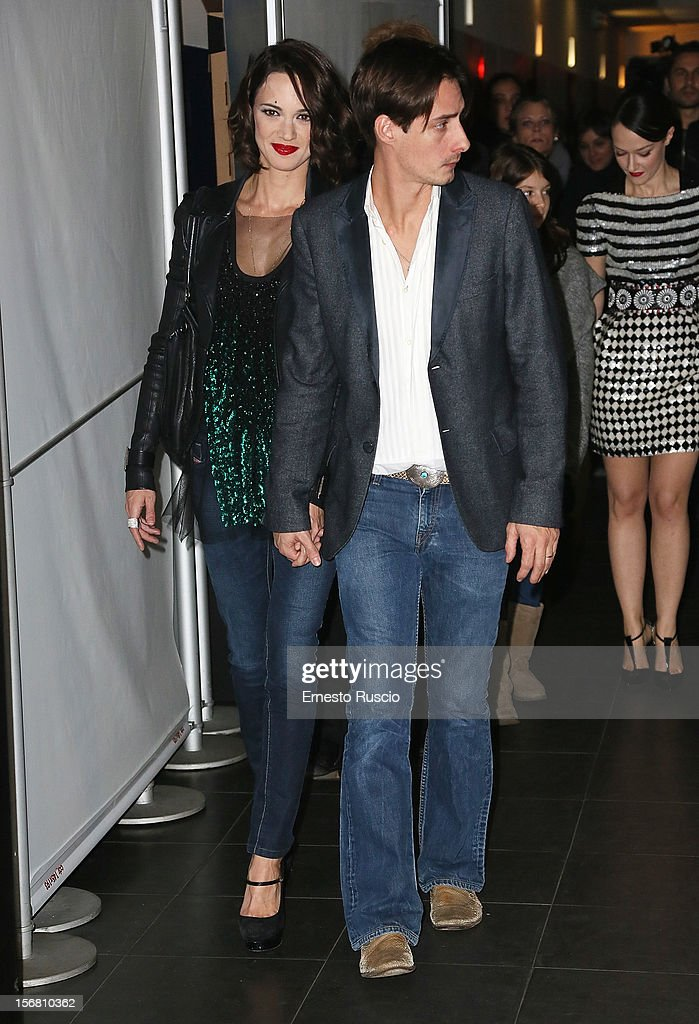 Asia Argento and Michele Civetta attend the 'Dracula in 3D' premiere at Cinema Barberini on November 21, 2012 in Rome, Italy.