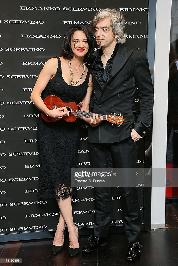 <a gi-track='captionPersonalityLinkClicked' href=/galleries/search?phrase=Asia+Argento&family=editorial&specificpeople=856947 ng-click='$event.stopPropagation()'>Asia Argento</a> and Morgan attend the Ermanno Scervino Store Opening as a part of AltaRoma AltaModa on July 9, 2013 in Rome, Italy.