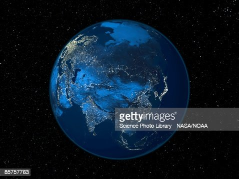 Asia at night, satellite image of the Earth at night