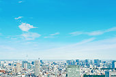 Asia Business concept for real estate and corporate construction - panoramic modern cityscape building bird eye aerial view of skytree under sunrise and morning blue bright sky in Tokyo, Japan