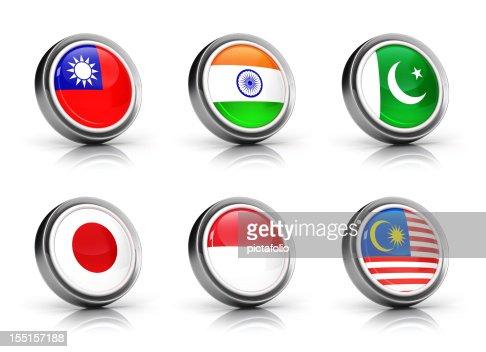 Asia Flags icon set : Stock Photo