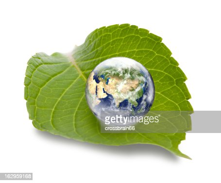 Asia focused globe on green leaf - ecology concept