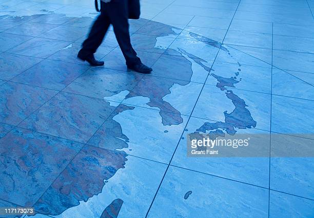 Asia map on floor.