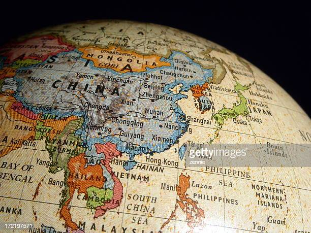 Asia On World Globe